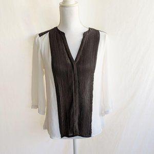H&M Blouse 8 White black Long Sleeve